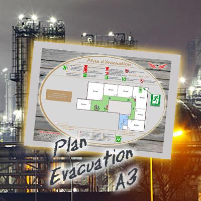 Plan d 39 vacuation dibond argent format a3 haut de gamme for Concepteurs de plans haut de gamme