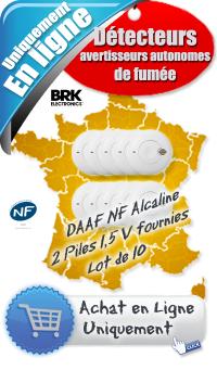 Lot détecteur de fumée NF (DAAF) - NF SA 410 - Prix 160 € ht - lot de 10 BRK - Pas Cher