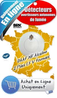 Détecteur avertisseur autonome de fumée (DAAF) - NF SA 410- Prix 17,90 € ht - BRK - Alcaline